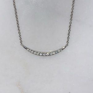 Fossil Silver Tone Crystal Necklace